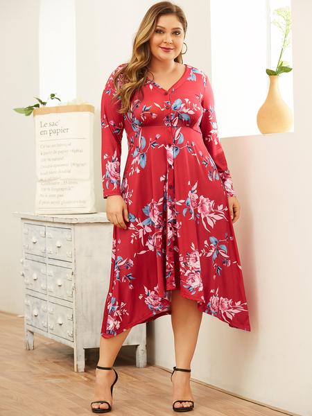 YOINS Plus Size Random Floral Print V-neck Long Sleeves Dress