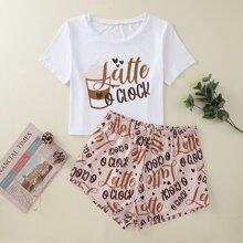 Conjunto de pijama camiseta con estampado de letra con shorts