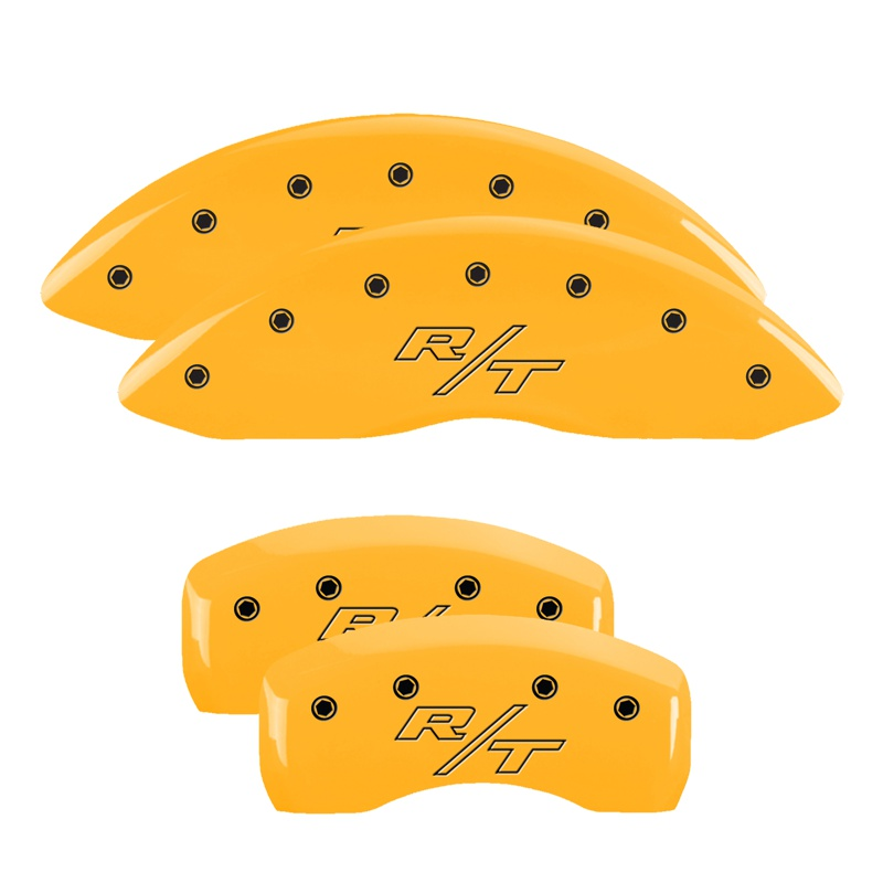 MGP Caliper Covers 12192SRTRYL Set of 4: Yellow finish, Black RT / RT (Vintage) Dodge