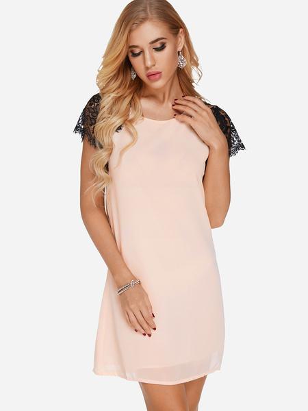 Yoins Nude Crochet Lace Embellished Round Neck Short Sleeves Dress