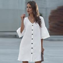 Flounce Sleeve Button Up Tunic Dress
