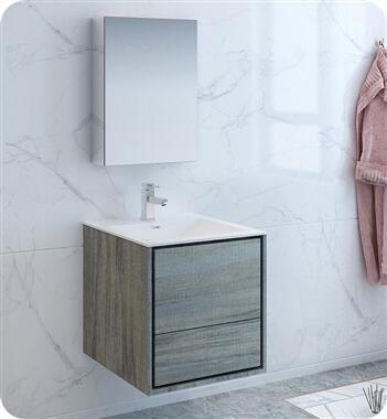 Catania Collection FVN9224OG 24 Ocean Grey Wall Hung Modern Bathroom Vanity with Medicine