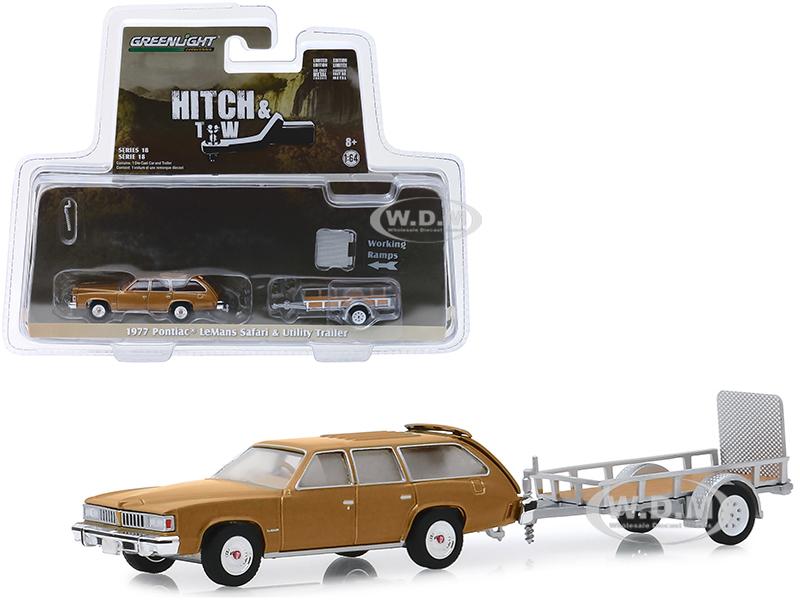 1977 Pontiac LeMans Safari Gold and Utility Trailer