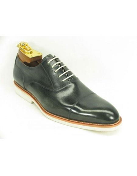 Men's Fashionable Grey Carrucci Leather Oxford Shoes With White Sole