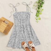 Knot Strap Shirred Back Dalmatian Print Slip Dress