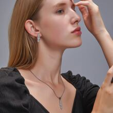 1 pieza collar con diamante de imitacion con 1 par pendientes