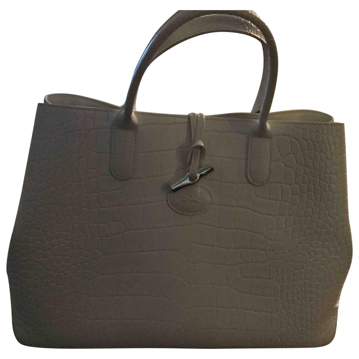 Longchamp Roseau Handtasche in  Weiss Leder