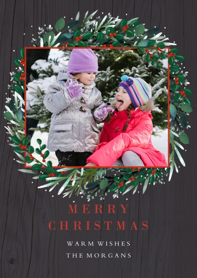 Christmas Photo Cards Flat Matte Photo Paper Cards with Envelopes, 5x7, Card & Stationery -Wreathina