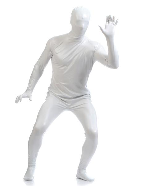 Milanoo Disfraz Halloween Blanco brillante metalico Zentai trajes de hombres Halloween