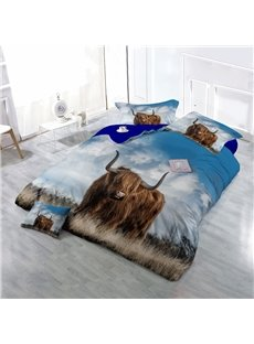 Brown Yak on Grass Wear-resistant Breathable High Quality 60s Cotton 4-Piece 3D Bedding Sets