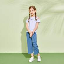 Girls Cold Shoulder Letter Graphic Tee & Pants