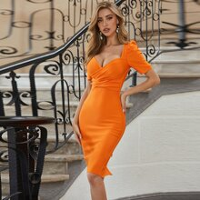 Sesidy vestido bajo con abertura cruzado delantero naranja neon