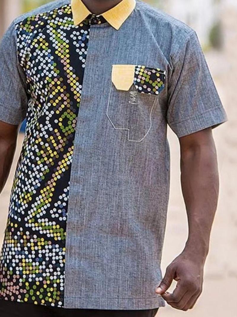 Ericdress Print Casual Color Block Loose Men's Shirt