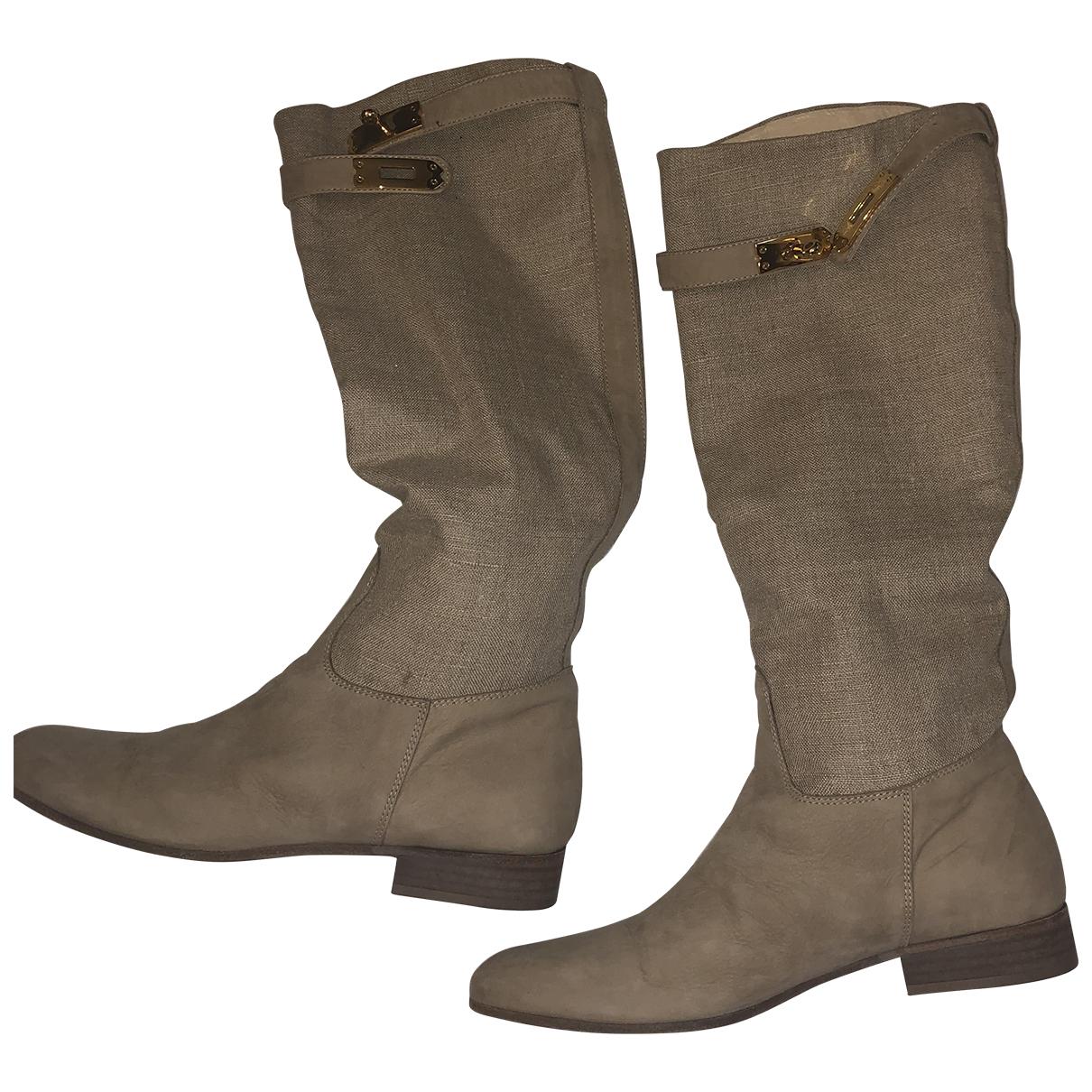 Autre Marque N Beige Leather Boots for Women 38 EU