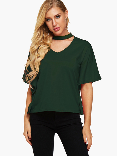 Yoins Green Cut Out Halter Half Sleeves Casual Top