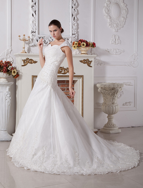 Milanoo White A-line Sweetheart Cap Sleeves Lace Satin Wedding Dress