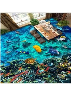 Abundant Marine Living in the Blue Sea Pattern Waterproof and Antiskid 3D Floor Murals
