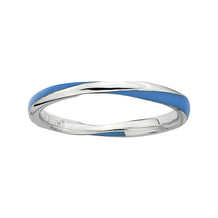 Personally Stackable Sterling Silver Twisted Blue Enamel Ring, 8 , No Color Family