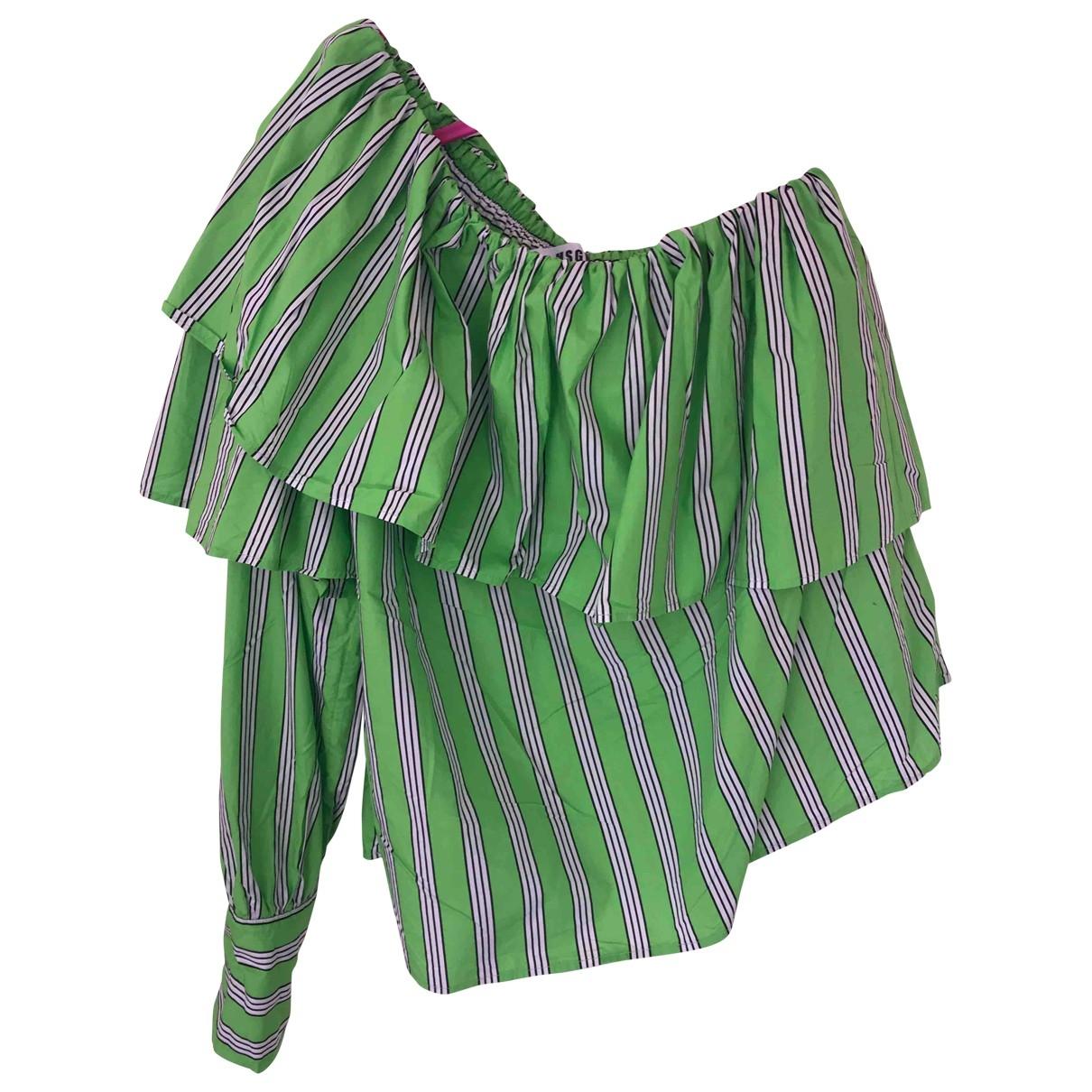 Msgm - Top   pour femme en coton - vert
