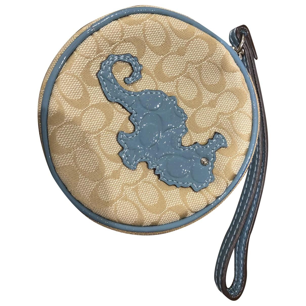 Coach - Petite maroquinerie   pour femme en toile - bleu