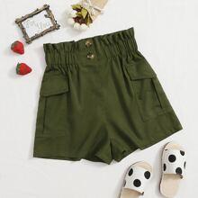 Girls Paperbag Waist Flap Pocket Side Shorts