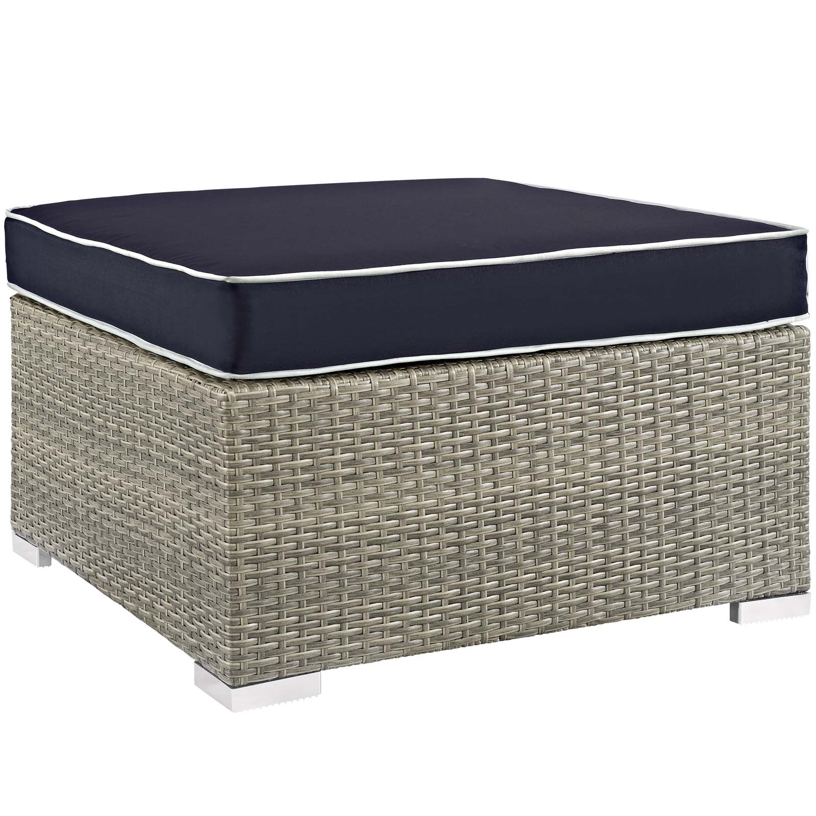 Repose Outdoor Patio Upholstered Fabric Ottoman in Light Gray Navy