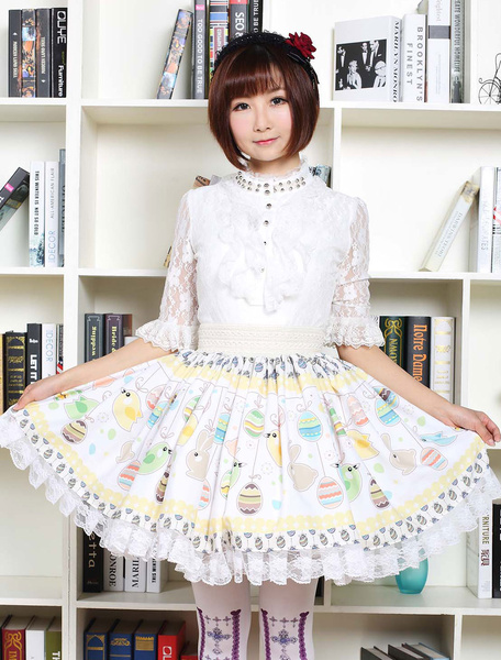 Milanoo Cute Lolita Dress Multicolor Easter Egg Rabbits Printed Lolita Skirt With White Lace Trim