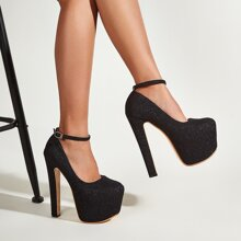 Minimalist Ankle Strap Chunky Pumps