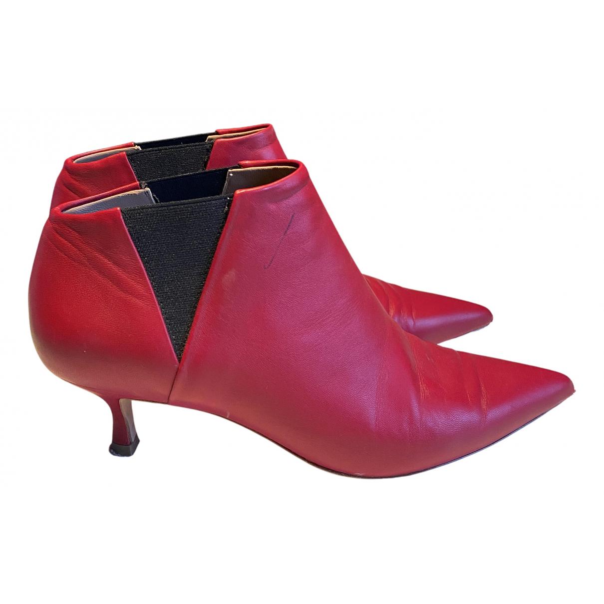 Golden Goose - Boots   pour femme en cuir - rouge