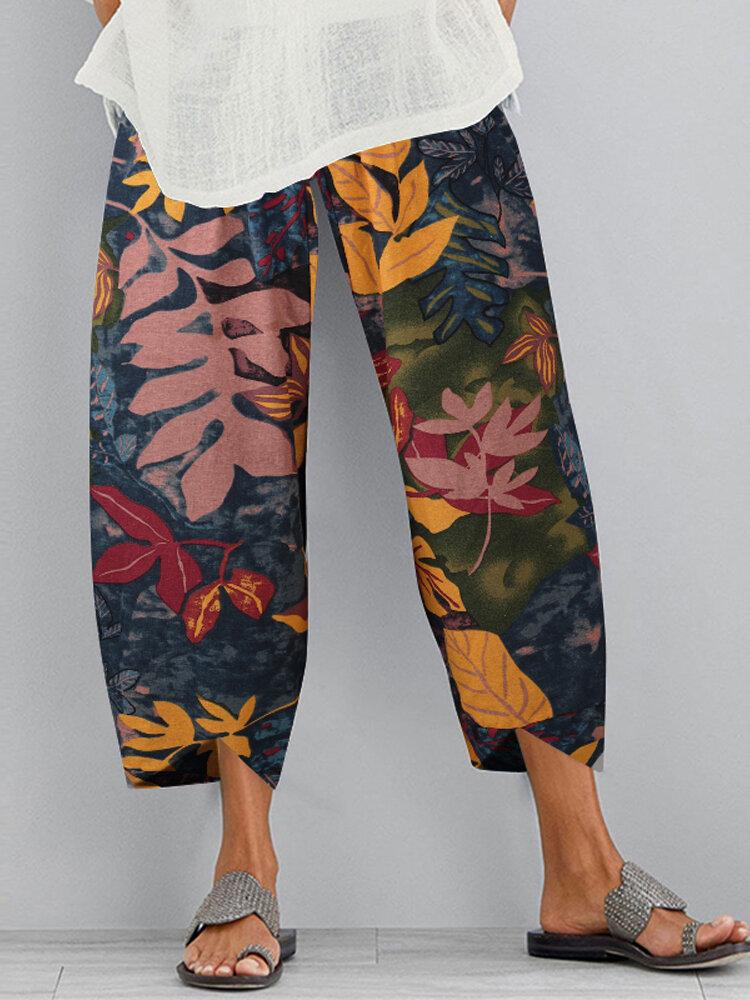 Vintage Floral Printed Elastic Waist Pants For Women