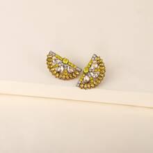 Rhinestone Lemon Design Stud Earrings
