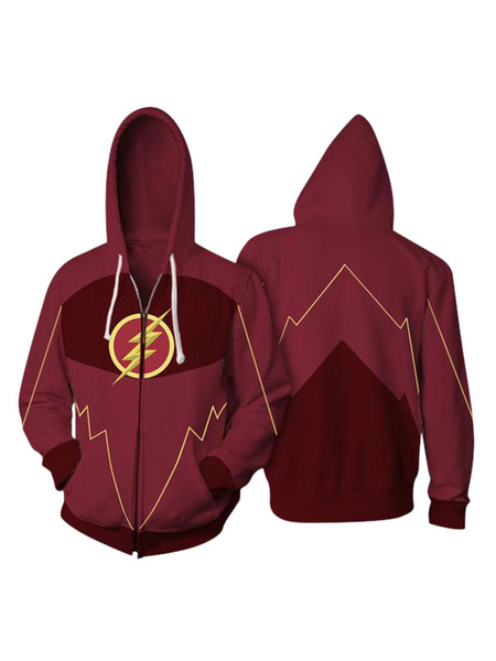 Milanoo DC Comics The Flash Barry Allen Halloween Cosplay Hoodie