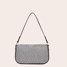 Geometric Pattern Baguette Bag