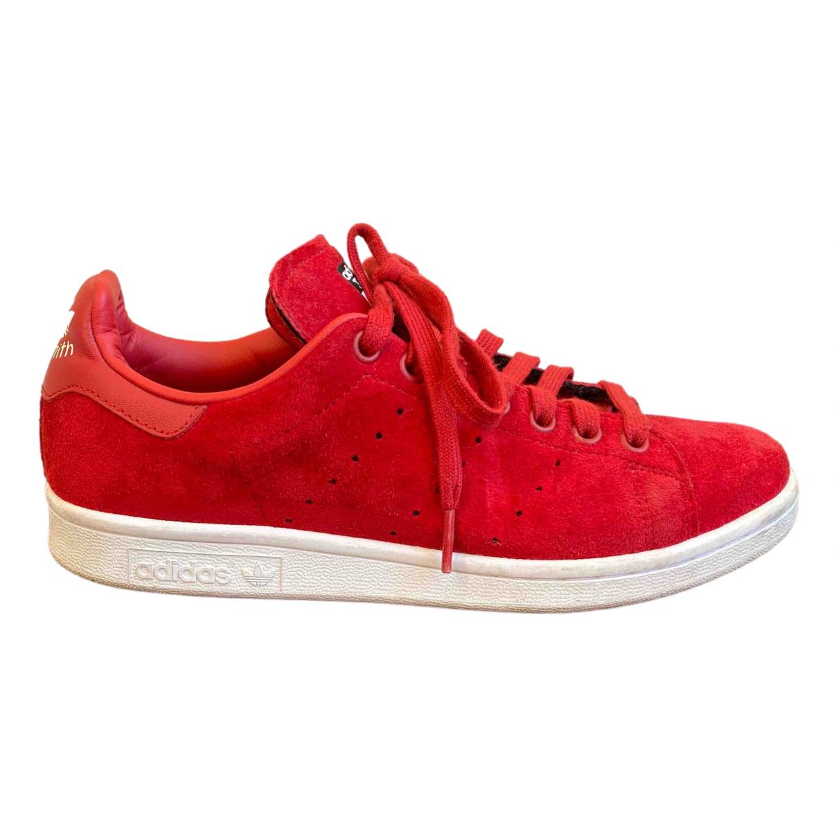 Adidas - Baskets Stan Smith pour femme en suede - rouge