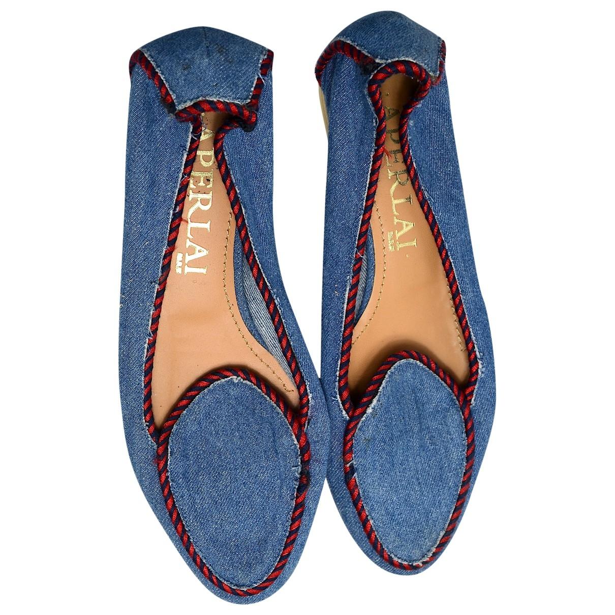 Aperlai - Ballerines   pour femme en toile - bleu