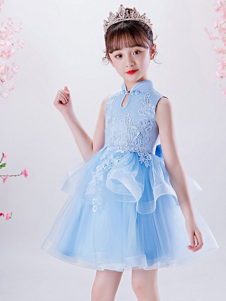Milanoo Flower Girl Dresses Designed Neckline Sleeveless Embroidered Kids Social Party Dresses