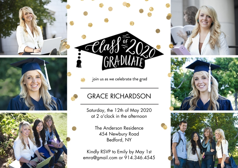 2020 Graduation Invitations Flat Matte Photo Paper Cards with Envelopes, 5x7, Card & Stationery -Graduate Party 2020 by Tumbalina