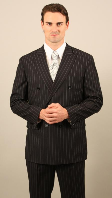 Mens Double Breasted Black with Pinstripe Suit and Pleated Pants