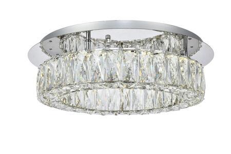 3503F18C Monroe Led Light Chrome Flush Mount Clear Royal Cut