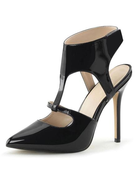 Milanoo Sandalias sexy de tacon alto Zapatos de cuero con punta en punta de cuero negro PU