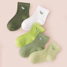 5 pares calcetines de niñitos con patron de fruta