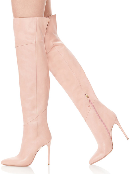 Milanoo Thigh High Boots Womens PU Pointed Toe Chunky Heel Wide Calf Over The Knee Boots