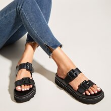 Buckle Decor Double Band Slide Sandals