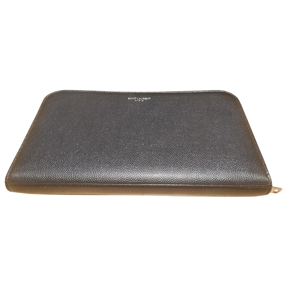 Saint Laurent \N Navy Leather Small bag, wallet & cases for Men \N