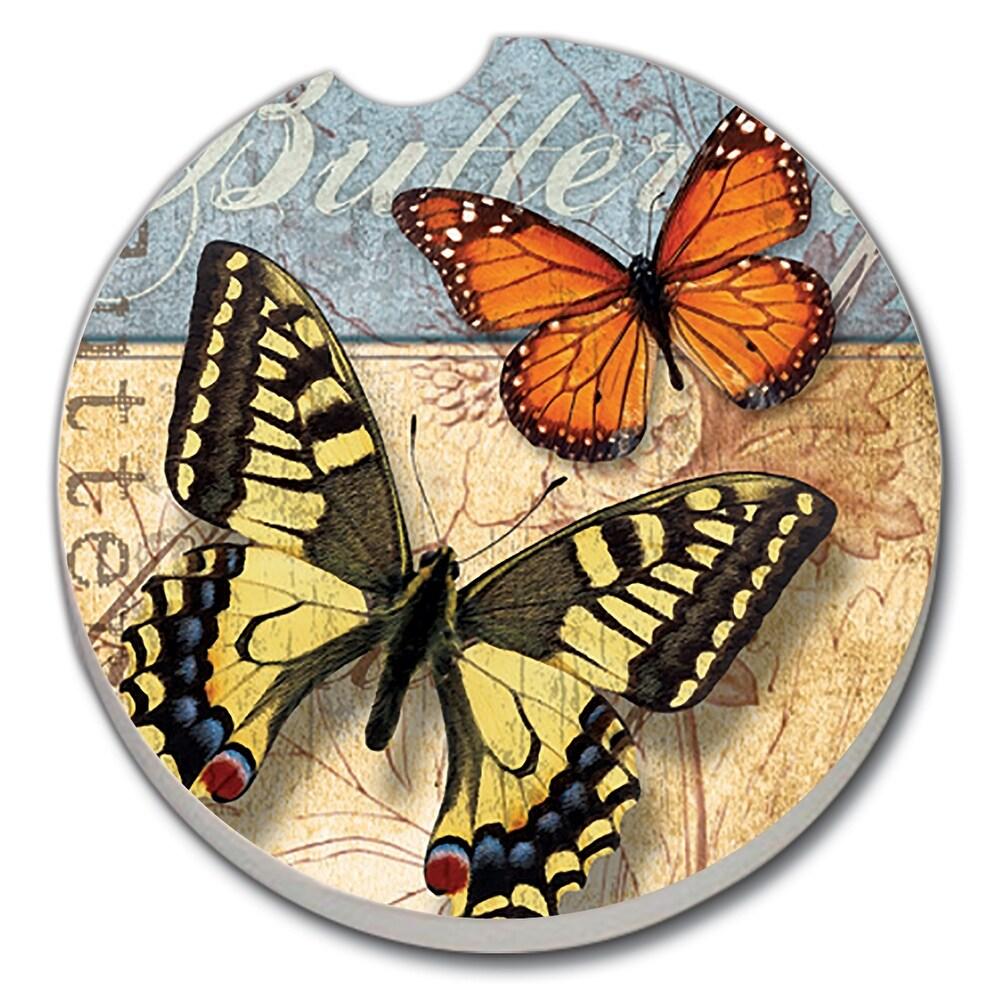 Counterart Absorbent Stoneware Car Coaster, Yellow Swallowtail & Monarch, Set of 2 - 2.5 (2.5)
