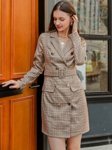 Double Button Belted Plaid Blazer Dress