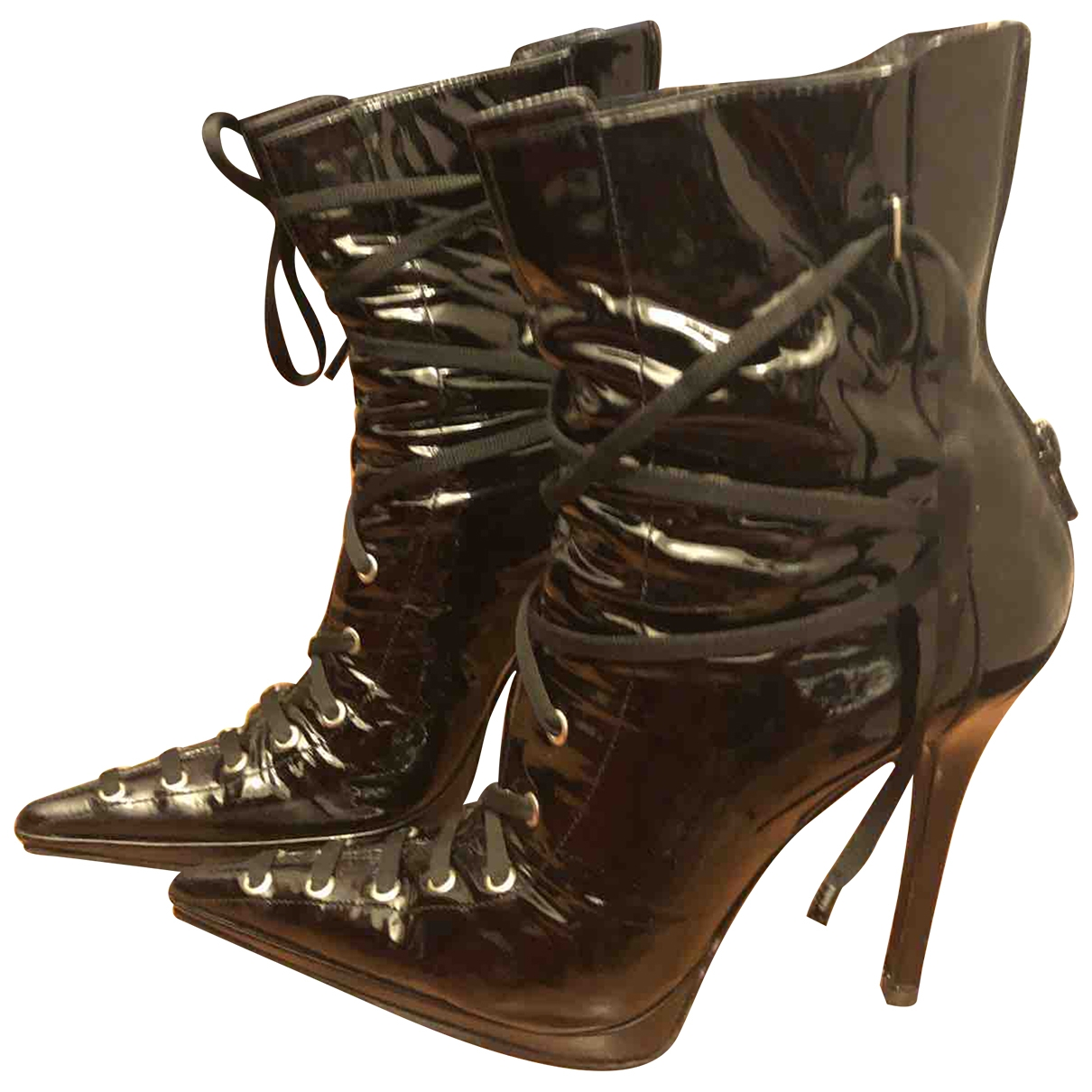 Casadei \N Black Patent leather Ankle boots for Women 40 IT