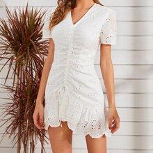 Eyelet Embroidery Drawstring Ruffle Hem Fitted Dress