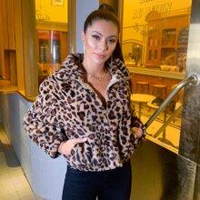 D&M Kunstpelz Mantel mit Reissverschluss und Leopard Muster