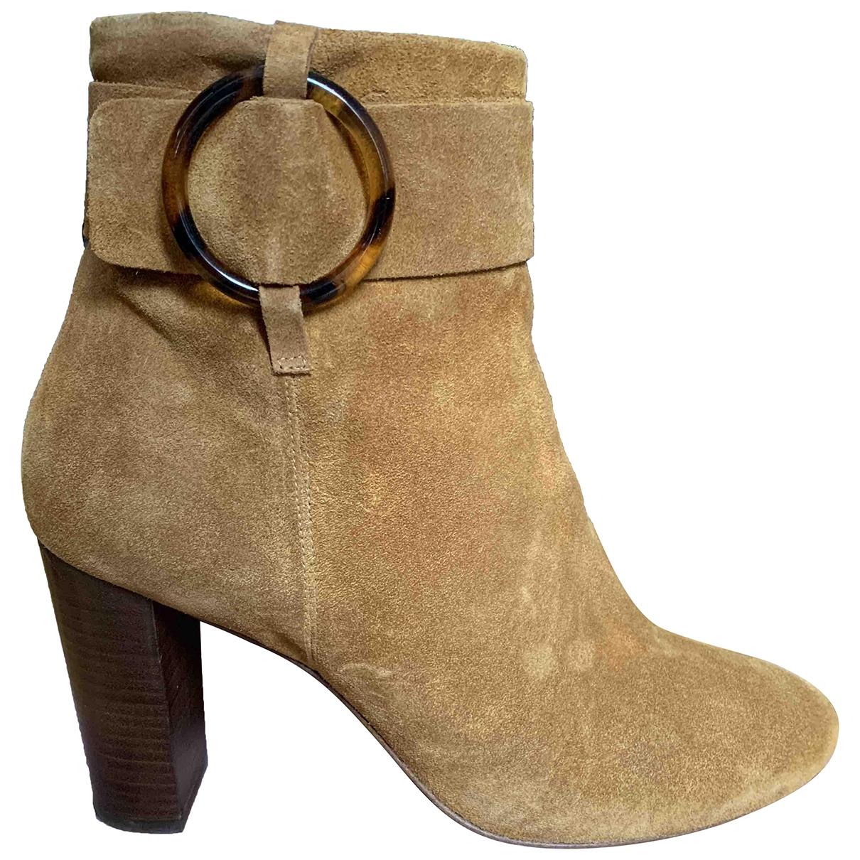 Sezane - Boots   pour femme en suede - camel